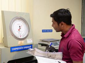 Compression Strength Testing at Testing laboratory